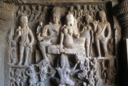 Cave sculptures of Hindu gods, eroded over the centuries, Elephantine Island, Mumbai  Bombay,  India, Asia