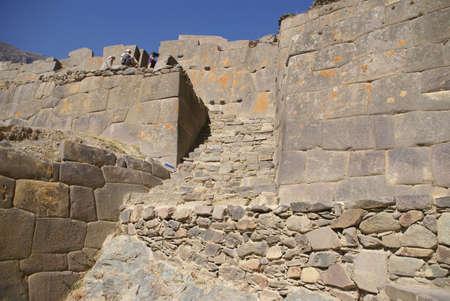 close fitting: Inca stairway and massive wall,  Ollantaytambo,  Peru, South America