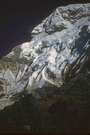 Steep snow face of Annapurna South in the   Annapurna Himal, Himalaya, Nepal