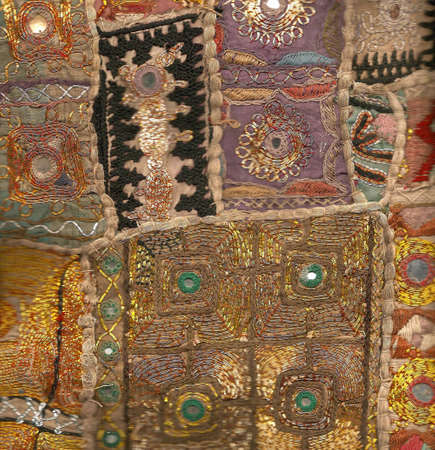 Rajasthani wall hanging made of quilted saris, detail
