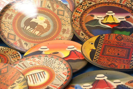 pisac: Colorful hand painted plates in Pisac market,  Cusco, Peru, South America