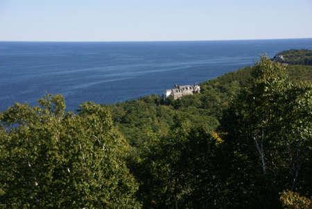 ouside: Large brick mansion in hills ouside  Bar Harbor,  Mount Desert Island, Acadia National park, Maine, New England