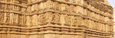 Frieze of gods, apsaras and mythical creatures on  Parsavanatha, Jain Temple Khajuraho in  India, Asia Stock Photo - 6072300