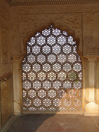 screen: Intricate marble screen in  Amber Fort, near  Jaipur, Rajasthan,  India    Stock Photo