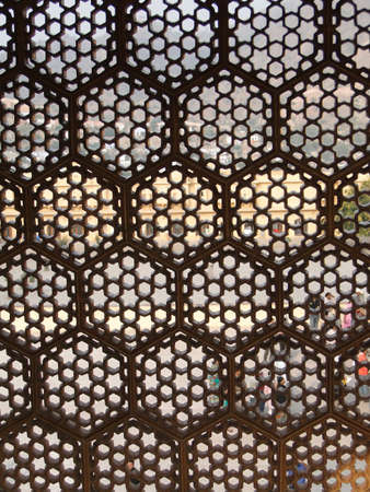 mogul: Intricate marble screen in  Amber Fort, near  Jaipur, Rajasthan,  India    Stock Photo