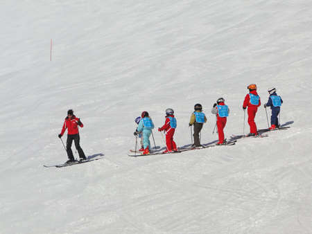 PORTES DU SOLEIL, SWITZERLAND - Feb 28 -  French children learn to ski  on Feb 28, 2010,  near Les Crosets, Switzerland