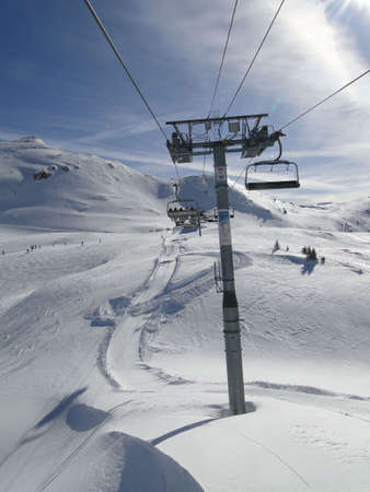 Chairlifts on high mountain ski area   Portes du Soleil,  France                        Stock Photo - 6636488