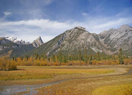 Vermillion Lake, Bow River & Banff mountains,   Alberta, Canada photo