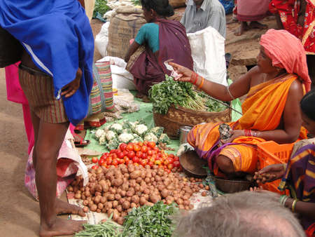 ORISSA,  INDIA - Nov 12 -Tribal woman sells vegetables  in weekly market  on Nov 12, 2009 in Ankadeli, Orissa in India  Stock Photo - 7007350