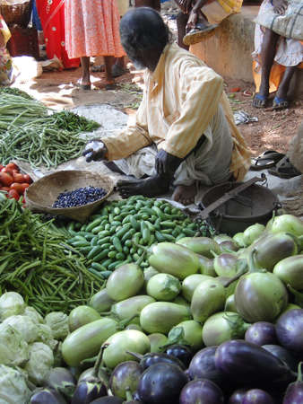 Man sells eggplant and other vegetables in the market  in Orissa, India