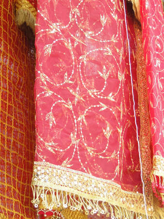 Fine silk brocade saree fabric in Lad Bazaar in Charminar, Hyderabad, Andhra Pradesh, India, Asia Stock Photo - 7115855