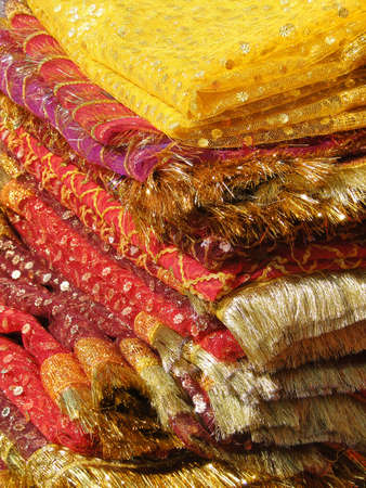 Fine silk brocade saree fabric in Lad Bazaar in Charminar, Hyderabad, Andhra Pradesh, India, Asia