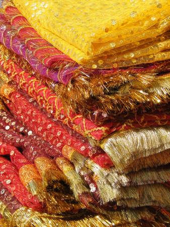 andhra: Fine silk brocade saree fabric in Lad Bazaar in Charminar, Hyderabad, Andhra Pradesh, India, Asia