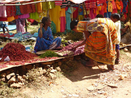 ORISSA,  INDIA - NOV 10  - Indian woman sells chili peppers and other vegetables at a tribal market    on  Nov 10, 2009 in Orissa, India.  Sajtókép