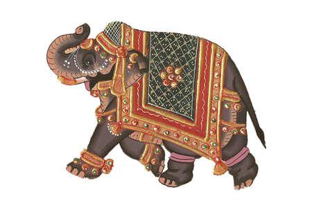 illustraion: Indian miniature painting of elephant