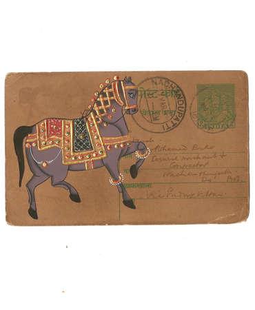 Indian miniature painting of horse,  on vintage postcard Udaipur, India