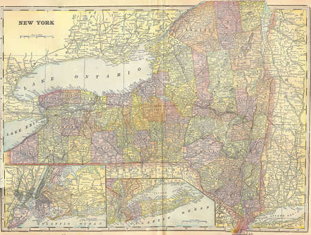 Vintage 1896 map of New York state 스톡 콘텐츠