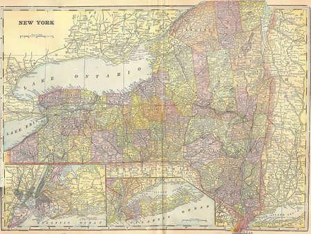 Vintage 1896 mappa dello stato di New York Archivio Fotografico - 7259003