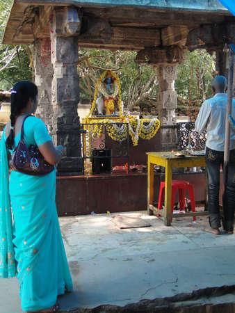 puja: TIRUPATI, INDIA - NOV 26 - Hindu pilgrims visit a small temple for puja on Nov 26, 2009, in Andhra Pradesh, India.