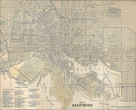 Vintage 1891 map of the city of Baltimore, Maryland; out of copyright Foto de archivo