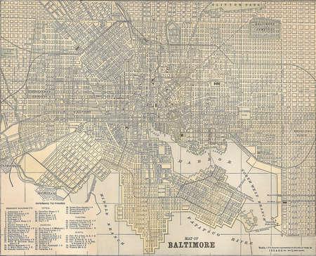 Vintage 1891 kaart van de stad van Baltimore, Maryland; uit copyright