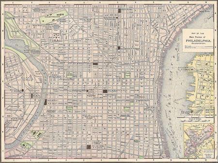 Vintage 1891 map of the city of Philadelphia, Pennsylvania; out of copyright Foto de archivo