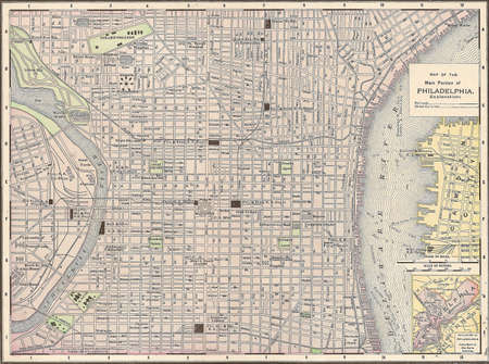 Vintage 1891 kaart van de stad Philadelphia, Pennsylvania; van copyright