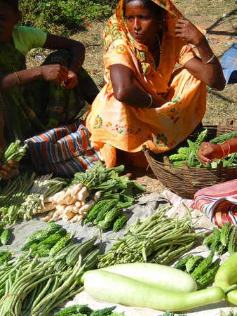 ORISSA, INDIA - NOV 11 -A Tribal woman sells fresh vegetables  on Nov 11, 2009, in Chatikona market, Orissa, India      Stock Photo - 7960650