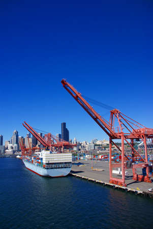 Container ship and dockyard cranes  Puget Sound,  Pacific Northwest photo