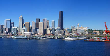 seattle: Panorama - Seattle waterfront skyline,with ferry and dockyard cranes,  Puget Sound,  Pacific Northwest