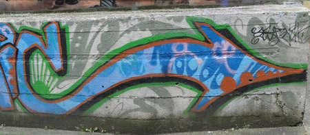 victoria bc: VICTORIA, BC - APR 9 - Urban graffiti  brightens Old Towns alleys Old Town, on Apr 9, 2011 in Victoria, BC, Canada