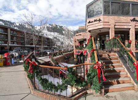 ASPEN, COLORADO - JAN 15 - Stores promote holiday sales on Jan 15, 2011, in Aspen, Colorado