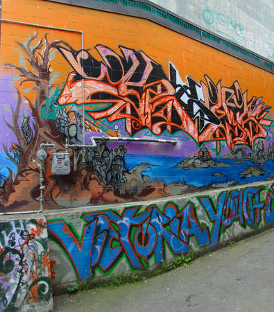 brighten:  VICTORIA, BC - APR 9 - Urban graffiti murals brighten Old Towns alleys Old Town, on Apr 9, 2011 in Victoria, BC, Canada                               Editorial