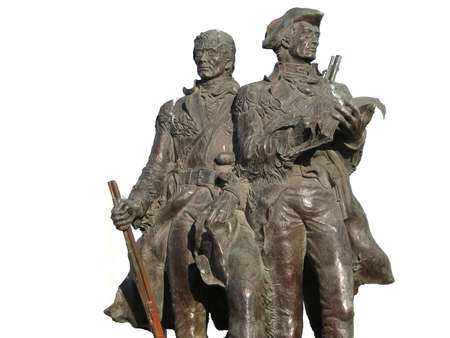 end of the trail: Statue of explorers Lewis and Clark at the end of the trail in Seaside Oregon Stock Photo