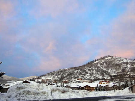 Alpine glow on Steamboat Springs ski area, after sunset Colorado