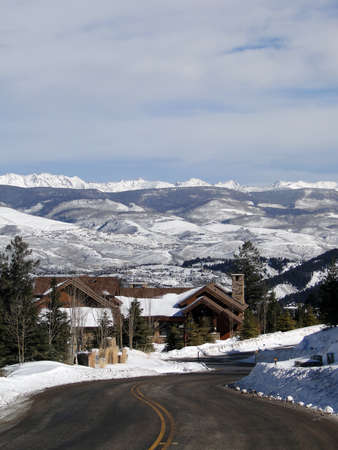 Large houses in winter mountains,  above Vail Valley,Colorado                       photo