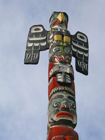the totem pole: Detail, Totem pole carved from cedar, Thunderbird Park, Victoria, BC, Canada