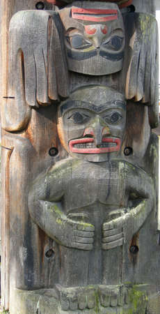 Detail, Totem pole carved from cedar, Thunderbird Park, Victoria, BC, Canada Stock Photo - 9746566