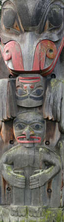 Detail, Totem pole carved from cedar, Thunderbird Park, Victoria, BC, Canada      photo