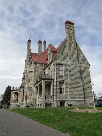victoria bc: Stone mansion and porchCraigdarroch Castle, Victoria, BC, Canada
