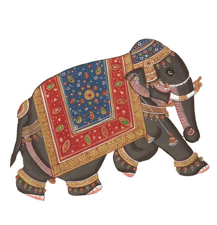 Caparisoned elephants on parade.Indian miniature painting on 19th century paper. Udaipur, India