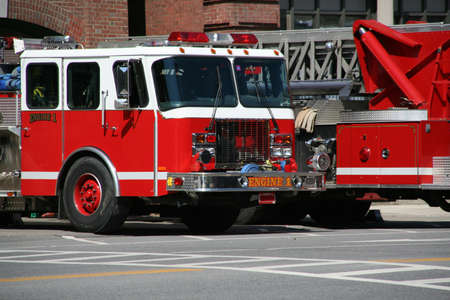 Fire engines in front of fire station, St. JohnsburyVermont  Stock Photo - 9687266
