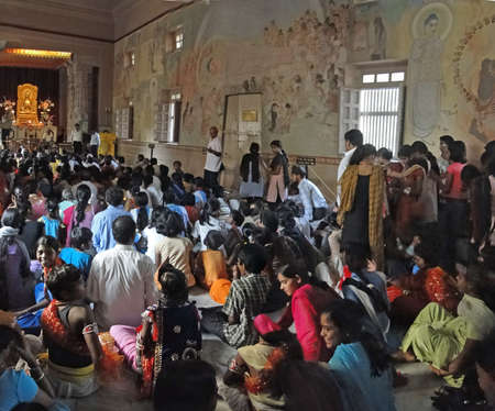 sarnath: Schoolchildren crowd the interior of the  Mula Gandhkuti Vihara temple