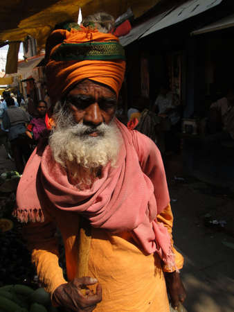 VARANASI, INDIA - NOV 7 - Hindu Sadhu gives blessings on Nov 7, 2009, in Varanasi, India.