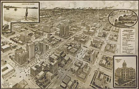 public domain: c 1910 - Houston--a modern city.  from vintage atlasHopkins & Motter. Public domain.