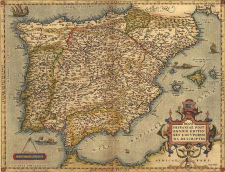 Antieke Kaart van Spanje, Stockfoto