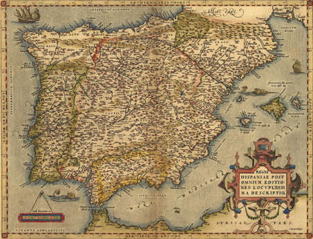 Antique Map of Spain,  photo