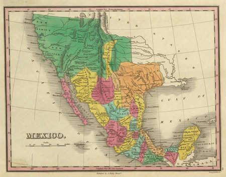 テキサス州、カリフォルニア州とメキシコの著作権の 1831年アンティーク マップ