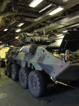 lav: Detail, Light armored vehicle (LAV)  aboard the Amphibious Assault Ship Bonhomme Richard, LDH-6, during Seafair Fleet Week  in  Seattle