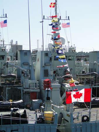 SEATTLE - AUG 4 - Canadian coastal defence vessels  await visitors during Seafair Fleet Week  on Aug 4, 2011, in Seattle.